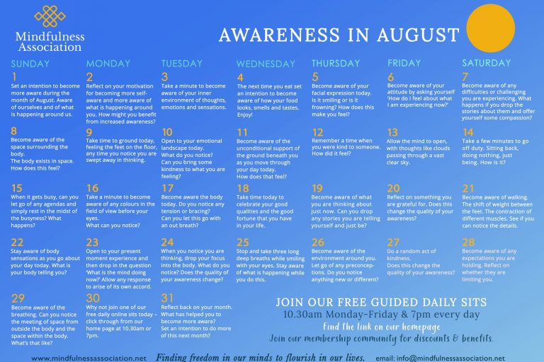 FREE AWARENESS IN AUGUST CALENDAR
